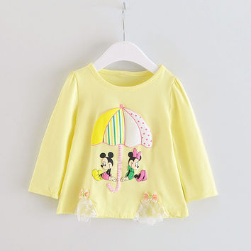 Fashion baby girls autumn cotton pattern top Long sleeves T-shirt ,baby girl cotton clothes 4-24Mo