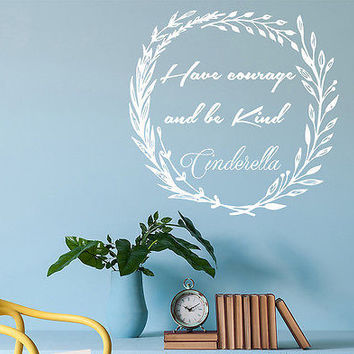 Rustic Wall Decal Cinderella Quotes Sticker Girl Nursery Kids Room Decor DS396