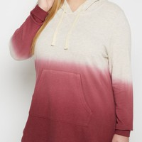 Plus Burgundy Dip Dye Ombre Hoodie | Plus Sweatshirts & Hoodies | rue21