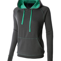 LE3NO PREMIUM Womens Active Contrast Color Pullover Hoodie Sweatshirt