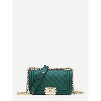 Metal Lock Quilted Crossbody Chain  Bag