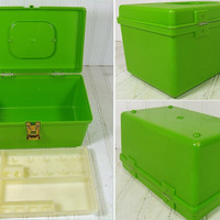 Retro Apple Green Wilhold Wilson Sewing Box - Vintage Rectangular Plastic 2 Piece Carry All - Crafters Tote Organizer - Artisans Tool Chest