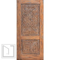 Turkish Hand Carved Single Door with stylized Floral motifs