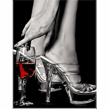 5D Diamond Painting Glass of Red Wine and Heels Kit