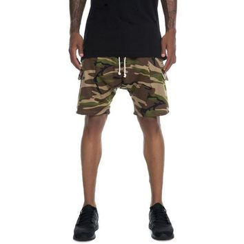 The Ichiro French Terry Drop Crotch Cargo Shorts in Camo