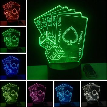free shipping Poker Playing Card Night Light Kids 3D Lamp Romantic 7 Color Chang Led Lights Home Cafe Bar Restaurant Decorative