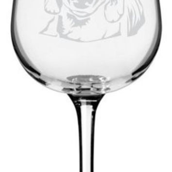 Dachshund Dog Themed Etched All Purpose 12.75oz Libbey Wine Glass