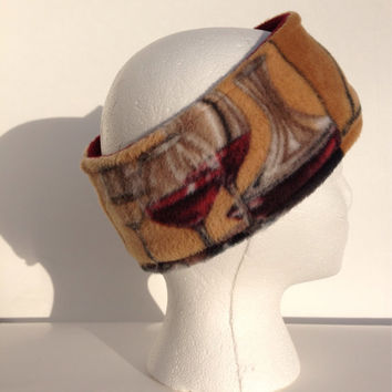 Wine theme fleece earwarmer, fleece headband, winter wear