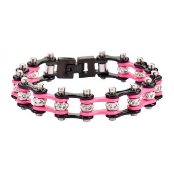 Show Your Support All Year Around Pink and Black Stainless Steel Chain Bracelet with Rolling Crystals