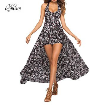2018 Sexy Beachwear Boho Overall Rompers Jumpsuit Print Backless Halter Lace Up V-neck Sleeveless Summer Playsuit Maxi Jumpsuits