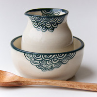 Teal Ceramic Creamer and Sugar Bowl (made to order) by RossLab