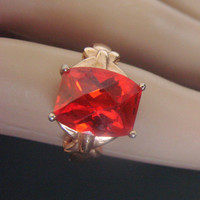Vintage Red Crystal Quartz Sterling Vermeil Ring * Orange Highlights * China * 925