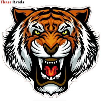 Three Ratels TZ-1536#15x15.9cm evil tiger colorful car stickers funny auto sticker decals