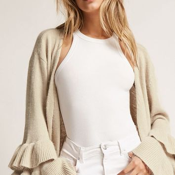 Open-Front Ruffle-Sleeve Cardigan