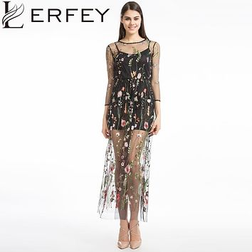 LERFEY Women Embroidery Flower Casual Dress Summer Two Piece Mesh Maxi Dress Black Dresses Long Dress Clothing Vestidos