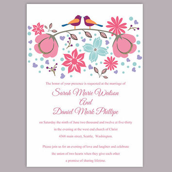 DIY Wedding Invitation Template Editable Word File Instant Download Printable Colorful Bird Wedding Invitation Coral Floral Invitation