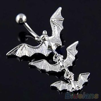 Gothic Flying Bats Body Piercing Jewelry Dangle Bar Belly Navel Button Ring  4D2K