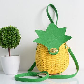 Woven Pineapple Shoulder Bag