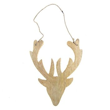 Hanging Distressed Reindeer Head Wooden Christmas Ornament, Natural, 5-1/2-Inch
