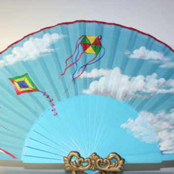 Kites. Free Shipping to US. Spanish hand fan. Hand painted.