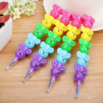 Cute Kawaii Plastic Crayon Lovely Cartoon Bear Crayon For Kids Painting Drawing Korean Stationery Free Shipping 1602