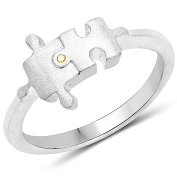 LoveHuang 0.01 Carats Genuine Yellow Diamond (I-J, I2-I3) Minimalist Puzzle Ring Solid .925 Sterling Silver With Rhodium Plating