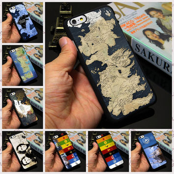 The Game of Thrones World Map Painted Case Cover for iPhone 7 4 4s 5 5s 5c 6 6s plus Stark Jon Snow White Wolf Winter is Coming