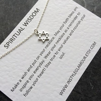 Star Of David Necklace, Spiritual Necklace, Silver Star Necklace,  Layering Necklace, Valentines Gift