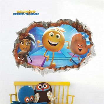 3D Emoji Smiley Faces Smashed Wall Stickers For Kids Baby Nursery Home Decor Cartoon Movie Decals Pvc Mural Art Decorations