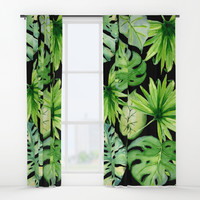 tropical leaves on black Window Curtains by sylviacookphotography