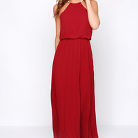 Without Further Ado Wine Red Maxi Dress