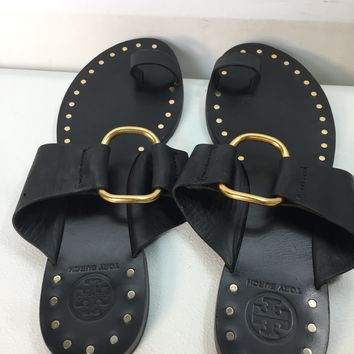 Used Tory Burch Women's Brannan Studded Leather Sandals, Size 7