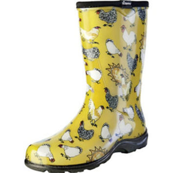 Sloggers Women's Rain & Garden Boot, Daffodil Yellow Chicken Print - For Life Out Here