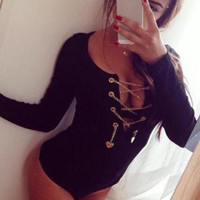 Black  Long Sleeve O-neck Keyhole Slim Bodysuit Catsuit