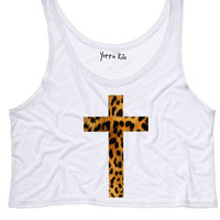 Leopard Cross Crop Tank Top
