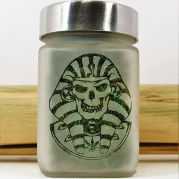 Pharaoh Skull Etched Glass Stash Jar & Herb Storage - Egyptian King Tut Airtight, Smell Resistant