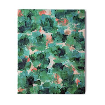 """Ebi Emporium """"Floral Spray 4"""" Red Floral Abstract Painting Mixed Media Birchwood Wall Art"""