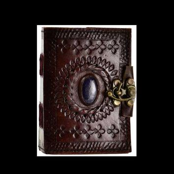 Mini Blank Journal Genuine Leather Stone Center with Brass Latch