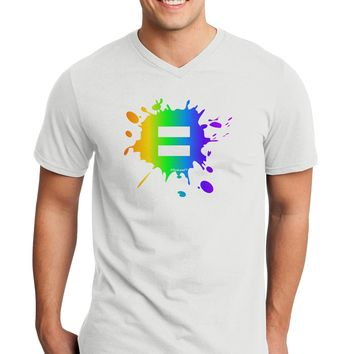 Equal Rainbow Paint Splatter Adult V-Neck T-shirt by TooLoud