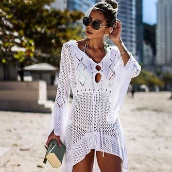 Crochet Knitted Beach Cover Up Women Bikini Tunics Beach Dress Ladies Swimsuit Bathing Suits