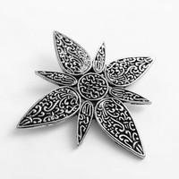 John Hardy Signed Silver Tone Floral Star Hair Clip Accessory, Beautiful Multi Use Clip, Modernist Style Hair Clip