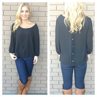 Black Gold Button Back 3/4 Sleeve Blouse