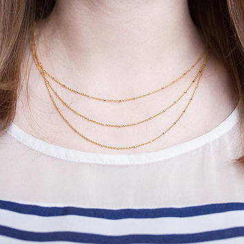 Layered Triple Strand Satellite Chain Necklace in Gold, Rose gold, Hematite or Sterling Silver