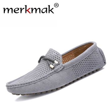 Summer genuine leather men shoes casual driving shoes leather mocassin soft breathable