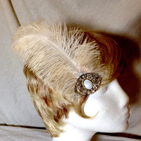 Cream ivory ostrich feather and vintage gold and mother of pearl hair fascinator clip