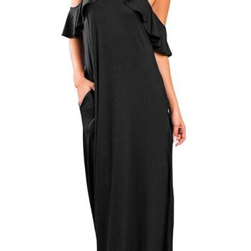 Chic Black Ruffle Sleeve Cold Shoulder Maxi Dress