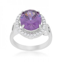 Amethyst Halo Cocktail Ring