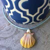 Sunrise Shell Leather Cord Necklace