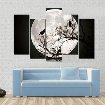 Ravens sitting On A Tree Shined With The Full Moon Multi Panel Canvas Wall Art