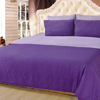 Tache 6 Piece Dark and Light Purple Lavender Dreams Reversible Comforter Set-Queen